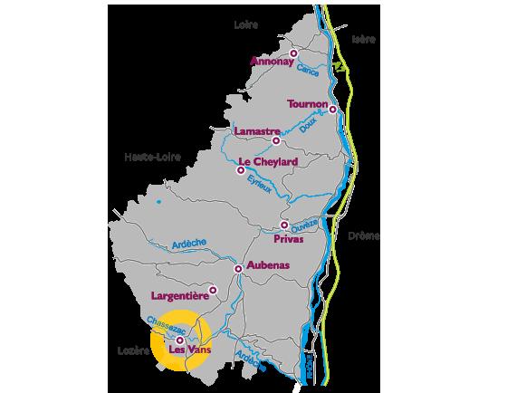 Map of Ardèche