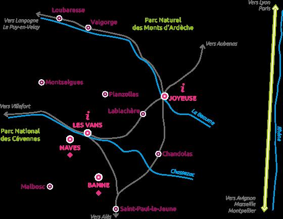 Map of Cévennes d'Ardèche