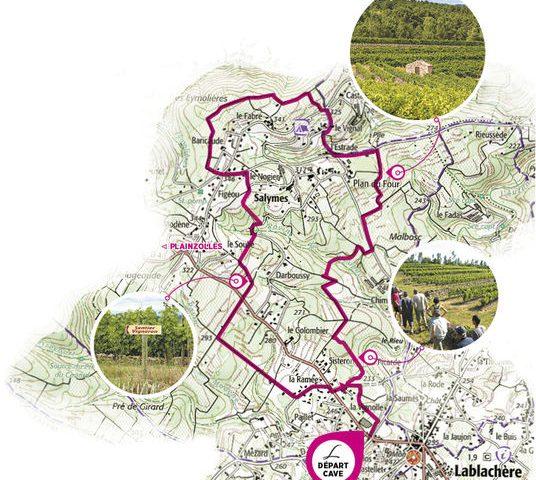 Carte sentier vigneron Lablachère